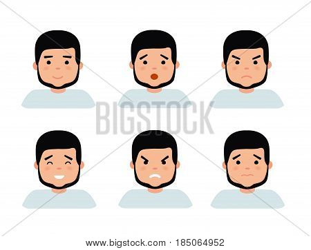 Set of male facial emotions. Bearded man emoji character with different expressions. Vector illustration in flat cartoon style