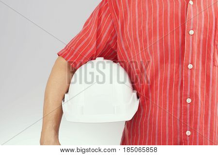 Engineer With Red Shirt Hold White Hat On White Background