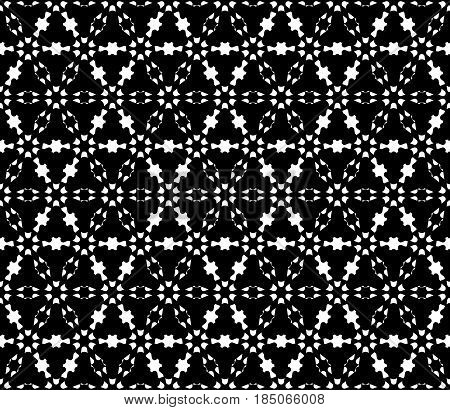 Vector monochrome texture, dark geometric seamless pattern. Illustration of barbed wire, triangular grid, carved shapes. Abstract floral figures. Design for decor, textile, tileable print, digital