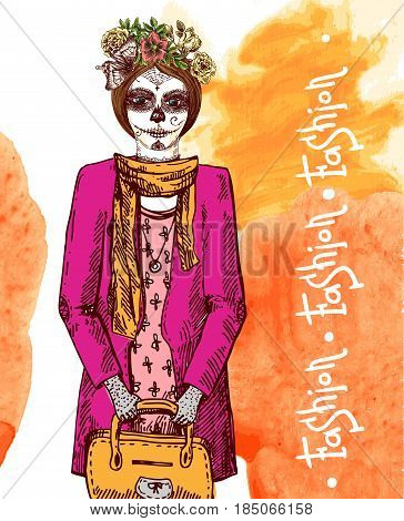 Girl with day of the dead make up in dress. Beautiful hand drawn vector  illustration. Ink painting. Design element useful for print for t-shirt, poster, posstcard