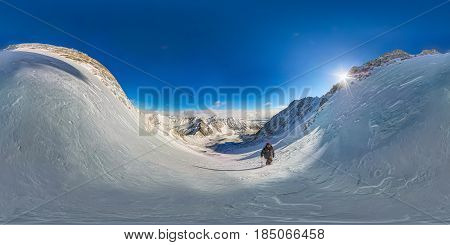 Spherical Panorama 360 180 Mountain Hiker To Climb A Mountain Of Snow Couloir