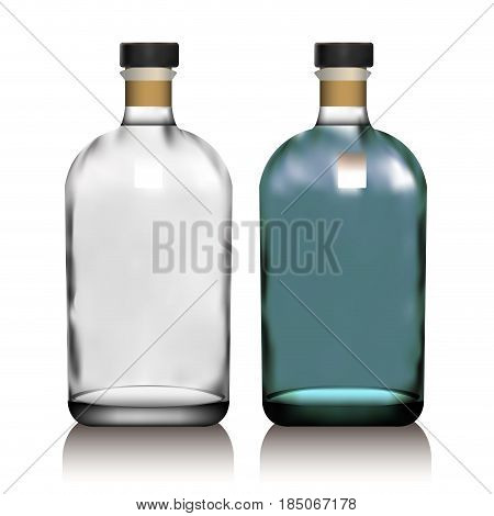 Realistic vector glass bottle for alcohol such as vodka, cognac, whiskey with sticker, label. Packaging for perfumes, oils, essence. Mock up.
