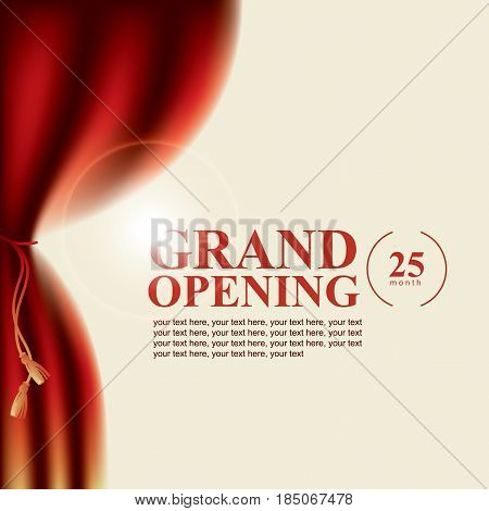 Vector poster for cinema theater and any concerts and festivals with curtains and the words Grand opening