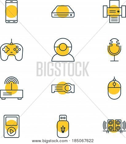 Vector Illustration Of 12 Accessory Icons. Editable Pack Of Memory Storage, Video Chat, Joypad And Other Elements.