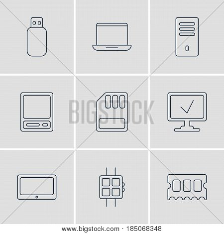 Vector Illustration Of 9 Notebook Icons. Editable Pack Of Online Computer, Modern Watch, Pda And Other Elements.