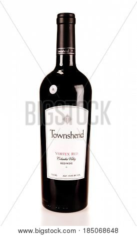 Colbert, WA - April 23, 2017: Bottle of Towmshend Winery Vortex Red a Columbia Valley red wine blend -on white, illustrative editorial