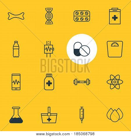 Vector Illustration Of 16 Health Icons. Editable Pack Of Pills, Osseous, Trickle And Other Elements.