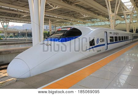 SHANGHAI CHINA - NOVEMBER 4, 2016: CRH China Railway High speed train. China Railway High speed is the high speed rail service operated by China Railway.