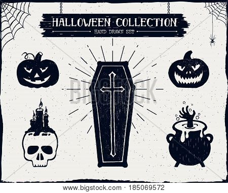 Hand drawn textured Halloween set of a coffin jack-o-lanterns skull cauldron and spiderwebs vector illustrations.