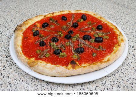 Pizza sardines food Italia Restaurant meat olive