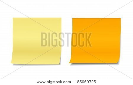 Set of two colorful realistic vector illustrations of blank sticky post notes isolated on white background