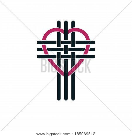 True Christian Love And Belief In God, Vector Creative Symbol Design, Combined Christian Cross And H