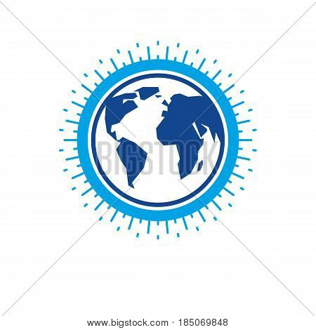 Earth globe sign vector icon. Globalization symbol