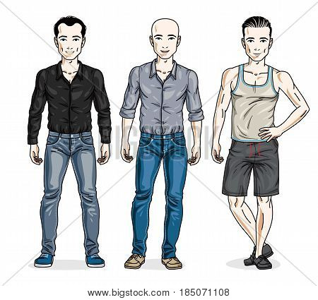 Handsome Men Group Standing Wearing Casual Clothes. Vector Set Of Beautiful People Illustrations. Li