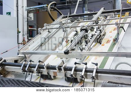 Printing Packaging Industry Lines Factory Technology Equipment Quick Speed Blur Details Metal Machin