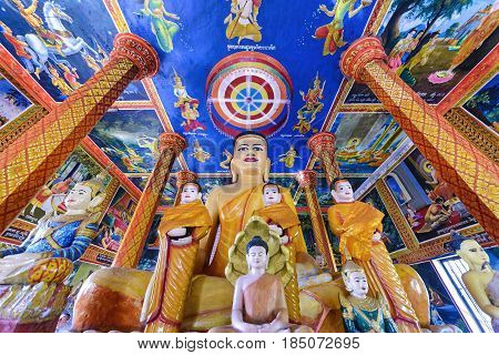 Lolei, Cambodia - January 4, 2017: View of Wat Lolei temple interior. Wat lolei is a Buddhist temple and monastery built near the historical Khmer site of Rolous, 14 kilometers from Siem Reap