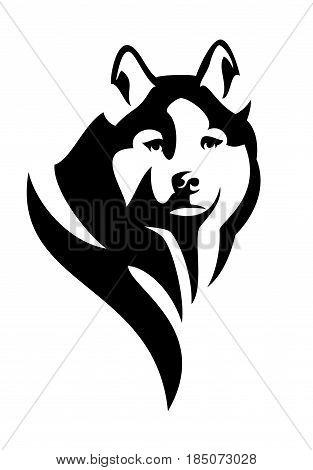 husky dog head black and white vector design