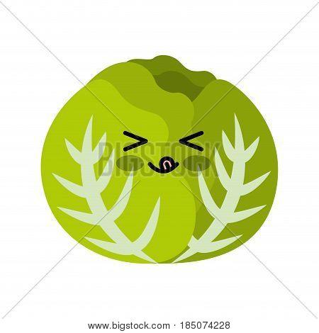 letuce fresh vegetable kawaii character vector illustration design