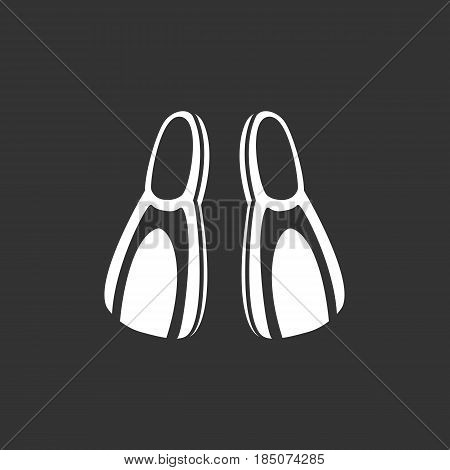 Flippers vector logo isolated on a black background. Diving icon silhouette design template. Simple symbol concept in flat style. Abstract sign pictogram for web mobile and infographics