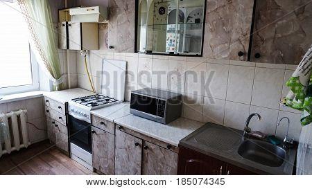 Kitchen made in old design. Old design background