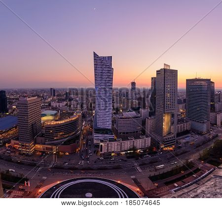 Panorama of Warsaw city with modern skyscraper during sunset Poland Europe.