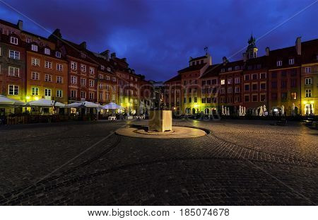 Monument in the main square of Warsaw. Poland.