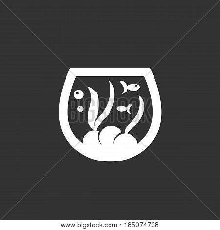Aquarium vector logo isolated on a black background. Icon silhouette design template. Simple symbol concept in flat style. Abstract sign pictogram for web mobile and infographics
