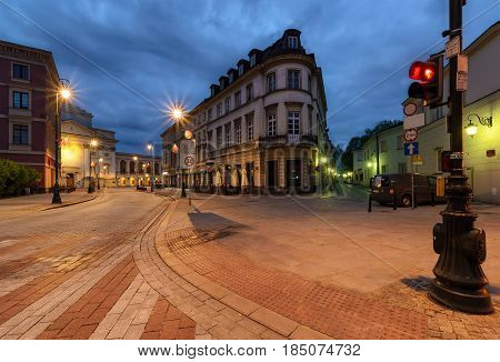 Street architecture in old town of Warsaw Poland.