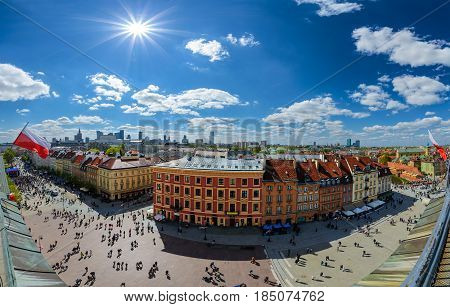 Panorama of Warsaw old and modern town. Poland. Europe.