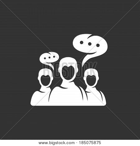 Discussion icon in flat style isolated on black background. Dialog logo silhouette. Abstract sign symbol pictogram. Vector illustration