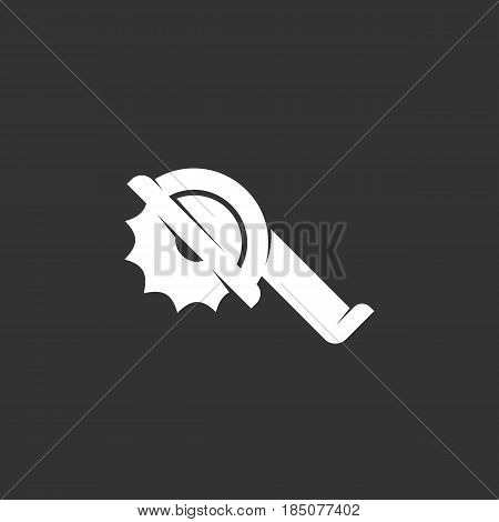 Saw icon in flat style isolated on black background. Circular tool logo silhouette. Abstract sign symbol pictogram. Vector illustration