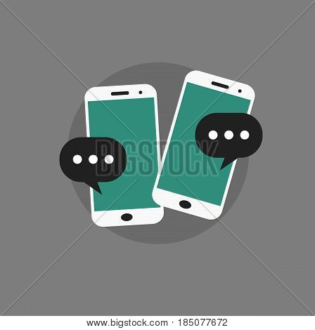 Infographic template with smartphone. Phone with bubble speech. Vector stock.
