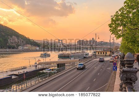 BUDAPEST, HUNGARY - APRIL 13, 2016: View of Buda side of Budapest with the Buda Castle St. Matthias and Fishermen's Bastion on April 13 2016 in Budapest Hungary.