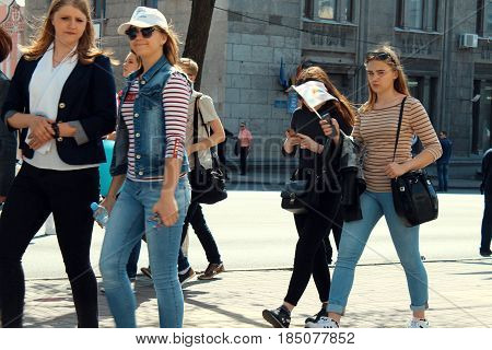 Kursk, Russia - May 1, 2017: a group of passers-by in the city centre.