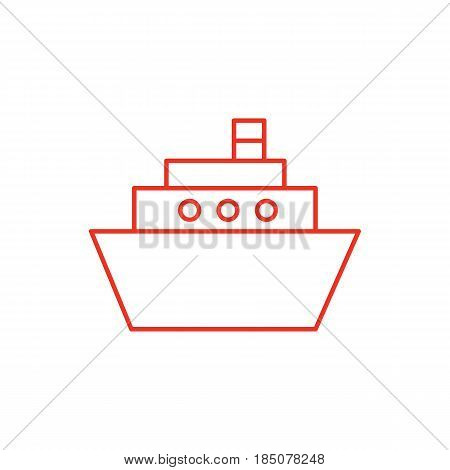Flat line ship icon isolated on white background. Minimal ship icon for use in variety of projects. Red vector ship icon for web sites and apps.