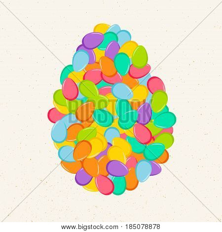 Colorful Easter bright eggs confetti in shape of egg on isolated beige background. Vector illustration