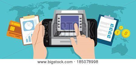 mobile banking online transaction with smartphone illustration vector design concept