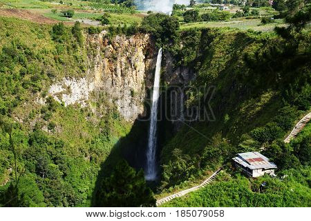 Sipisopiso waterfall at Tonging Village, North Sumatra, Indonesia