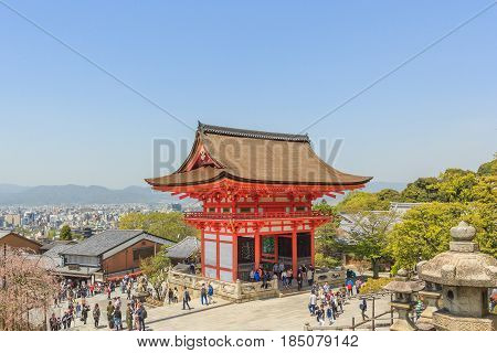 KYOTO, JAPAN - APRIL 18, 2015: Tourists walk on a street around Kiyomizu Temple. Kiyomizu is a famous temple in Kyoto built in year 778. That is part of the Historic Monuments of Ancient Kyoto. Japan on April 18 2015