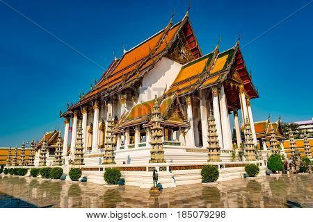 The Chapel of Wat Suthat. The temple of Rama 8 reign at the Giant Swing in Bangkok in Thailand