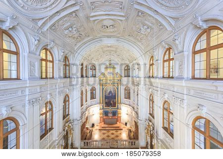 MUNICH, GERMANY - APRIL 06, 2016: Gold luxury interior of Court Chapel (Hofkapelle) in Munich Residence Museum. The Court Chapel is dedicated to the Virgin of the Immaculate Conception.