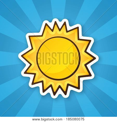 Vector illustration. Cute sun. Weather symbol. Sticker in cartoon style with contour. Decoration for greeting cards, patches, prints for clothes, badges, posters, emblems
