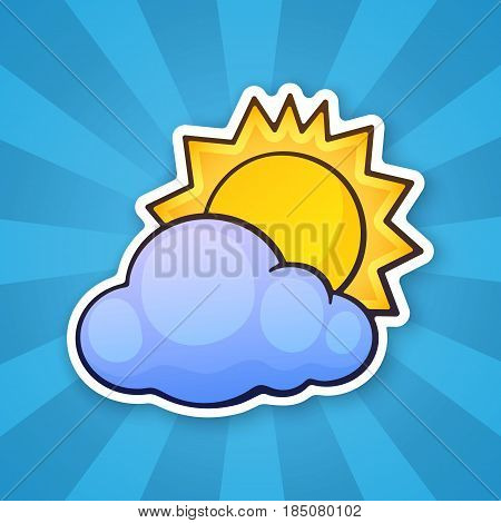 Vector illustration. Sun disappeared behind a cloud. Weather symbol. Sticker in cartoon style with contour. Decoration for greeting cards, patches, prints for clothes, badges, posters, emblems