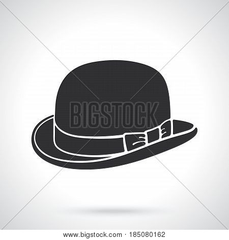 Vector illustration. Silhouette of retro bowler hat. Vintage elegant hat. Patterns elements for greeting cards, wallpapers