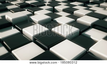 Realistic Movement of cubes. Futuristic background with black and white cubes. Cubes with reflection. Seamless loop