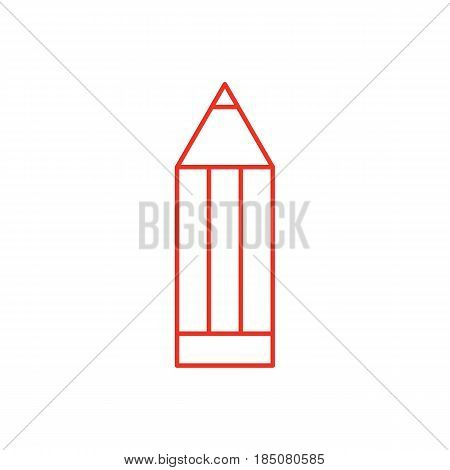 Flat line pencil icon isolated on white background. Minimal pencil icon for use in variety of projects. Red vector pencil icon for web sites and apps.