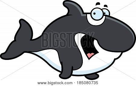 Scared Cartoon Killer Whale