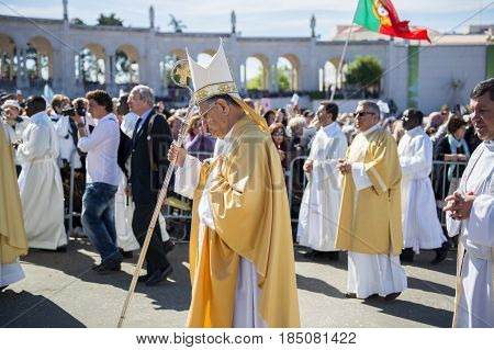 Fatima Portugal - May 13 2014: Group of Priests at the Sanctuary of Fatima during the celebrations of the apparition of the Virgin Mary in Fatima Portugal.