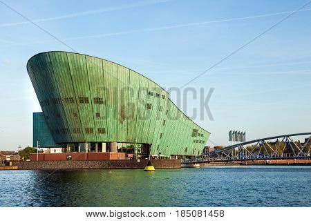 Amsterdam, Netherlands - April, 2017: NEMO Science Museum in Amsterdam city, Netherlands