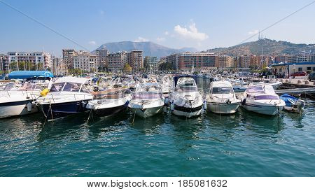 Salerno Italy - September 1 2016: Panoramic view of Salerno marina in the morning sun